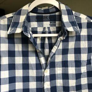 Blue and white gingham button front